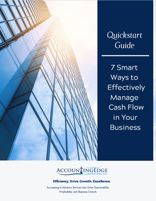 bottom-up outside view of tall office building with many windows and dark navy solid rectangle and white text - QuickStart Guide - 7 Smart Ways to Effectively Manage Cash Flow in Your Business